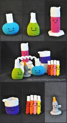 Orange and Shiny: Crochet Amigurumi Chemistry Set [see my Ravelry notes for details]