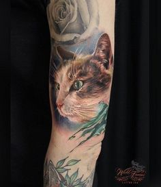 3D colored cat sleeve tattoo - 100  Examples of Cute Cat Tattoo  <3 <3