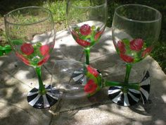 Pretty set of 4 McKenzie child Heiroom style goblets by cccglass, $20.00