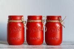 Red Mason Jars, Christmas Mason Jars, Rustic, Holiday Decor, Etsy, Country Primitive, Retro, Farmhouse Style, Primitives