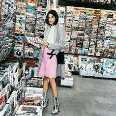 Scuze me (in @moco_official @edition_10 jacket n skirt n sweater) + Gucci astronaut shoes + literary candy shop #MOandCo #Edition10  by @mrstreetpeeper