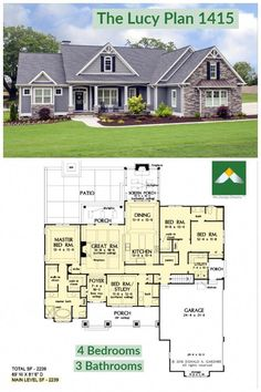 The Lucy Home Plan 1415 A simplified roofline creates interest with thoughtfully placed gable accents. Tapered columns highlight the front porch and welcome guests to. Farmhouse Floor Plans, Cottage Floor Plans, Ranch House Plans, New House Plans, Dream House Plans, Small House Plans, Mansion Floor Plans, Home Floor Plans, Ranch Style Floor Plans
