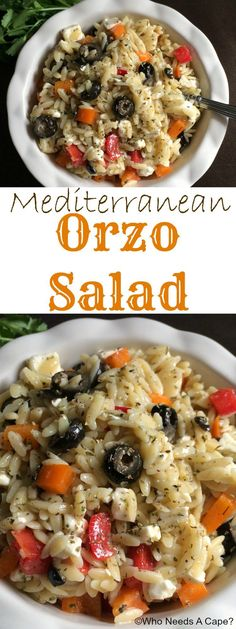 Mediterranean Orzo Salad is a tasty side dish that's super simple to prepare. Great with grilled meats, so awesome for summer dining. | Who Needs A Cape?