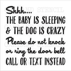 Baby Door Porch STENCIL Shhh...The Baby is by OaklandStencil