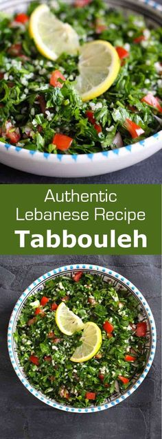 Tabbouleh is a traditional Lebanese and Syrian salad prepared with flat parsley, onion, tomato and mint, which is seasoned with lemon and olive oil. Lebanese Recipes, Turkish Recipes, Greek Recipes, Syrian Recipes, Lebanese Cuisine, Romanian Recipes, Scottish Recipes, Amish Recipes, Dutch Recipes