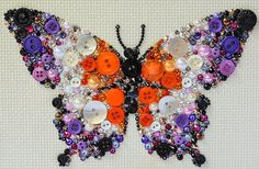 Button Art - Butterfly - Vintage Button and Rhinestone Art by PaintedWithButtons