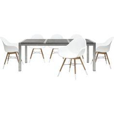 Roma havebord med 3 granitplade og stel i galvaniseret stål. Copenhagen havestol med hvidt plast sæde, sort metalstel og FSC® eucalyptus træben. Sætpris bord + 6 stole.