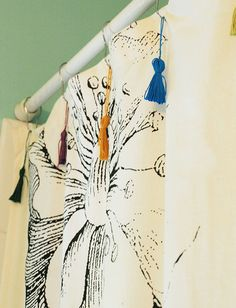 DIY Shower Curtain Tassels - Bright Bold and Beautiful