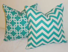 Set of Two Decorative Pillow Turquoise Zig Zag & Geometric Turquoise Pillow Covers 18x18