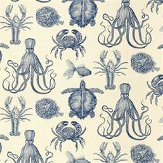 Oceana - Thomas Paul - Indigo - at Calico Corners Nautique Vintage, Surface Design, Calico Corners, Nautical Design, Novelty Fabric, Buy Fabric, Cotton Fabric, Beige Background, Pattern Illustration