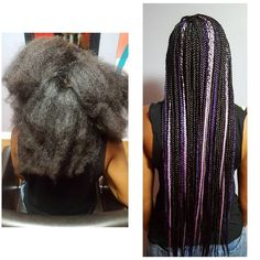Purple and Pink Box Braids by Cassandra.Monet