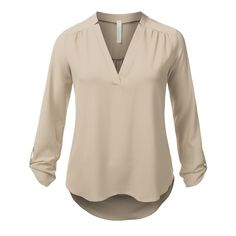 J.TOMSON PLUS Womens 3/4 Sleeve Henley Blouse Plus Size at Amazon... ($17) ❤ liked on Polyvore featuring tops, blouses, womens plus tops, 3/4 length sleeve tops, henley blouse, henley top and plus size three quarter sleeve tops