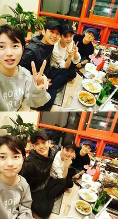 "Suzy at dinner with cast of ""While You Were Sleeping - Lee Jung Suk, Lee Jong, Drama Memes, While You Were Sleeping, Kdrama Actors, Bae Suzy, Diy Party, Korean Actors, Korean Drama"