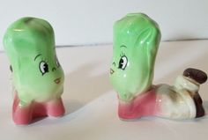Vintage Japan Anthropomorphic Reclining Vegetables Salt & Pepper Shakers