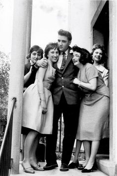 April 19, 1959 Elvis hosted 4 German teenagers at his home for tea, who had won this visit as part of a newspaper contest.