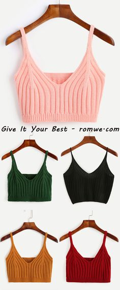 Multicolor Ribbed Knit Crop Cami Tops with pretty design and soft material only need US$4.99