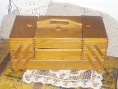 Vintage Wooden Sewing Box , Acordian , Expandable Lots of Storage  Mid Century /Storage/Sewing/Jewlery Box by Daysgonebytreasures on Etsy https://www.etsy.com/listing/259954593/vintage-wooden-sewing-box-acordian