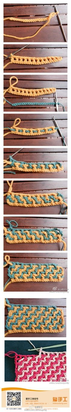 Crochet Stitch - Tutorial ❥ excellant stitch but it's a yarn eater! Double the yarn on any project! Crochet Diy, Love Crochet, Learn To Crochet, Crochet Crafts, Yarn Crafts, Crochet Projects, Double Crochet, Diy Crafts, Chevron Crochet