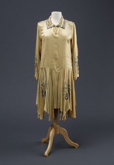 Gold coloured satin day dress 1928