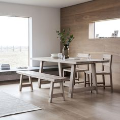 This wonderfully simple Nordic inspired design is sure to add a sense of calm and serenity to your interior.  Beautifully made in mellow solid Oak with white hues, using the planked and jointed method to create defined lines, for a contemporary and fresh feel.