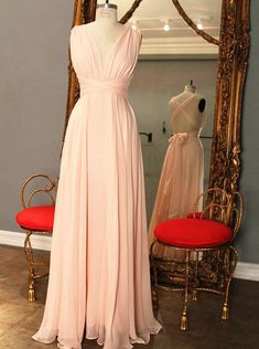 Elegant A-Line V-Neck Floor Length Pink Bridesmaid Dress with Bowknot