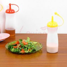 2 X Plastic Squeeze Bottle Condiment Dispenser Sauce Ketchup Kitchen For Picnic