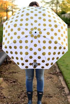"""These fun monogram umbrellas are the perfect gift for the gal who has it all! Practically perfect, these high quality umbrellas feature an auto open and close feature and collapse to fit in to most purses. A fun way to wear your monogram, these umbrellas add a little sunshine to any rainy day. Monogram umbrellas measure 39"""" when fully open."""