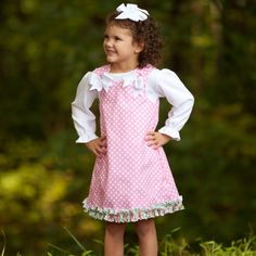 Lolly Wolly Doodle Pink Dot Ruffle Aline 9/28