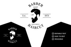 Barber Shop Logo by HubaStudio on @creativemarket