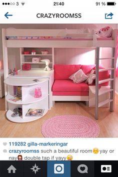 Ideaal voor Mijn dochters slaapkamer... Hopelijk wil ze ooit in zo'n hoog bed