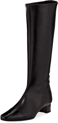 Shop Wakia Leather Cap-Toe Knee Boot from Manolo Blahnik at Neiman Marcus Last Call, where you'll save as much as on designer fashions. Leather Cap, Patent Leather, Knee Boots, Heeled Boots, Manolo Blahnik Heels, Smooth Leather, Designer Shoes, Neiman Marcus, Fashion Forward