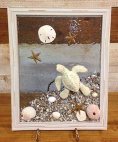 Unique beach window art by Luminosities! Hand painted, cast iron sea turtle on an ocean shore of abalone shells, sea urchin Sea Glass Crafts, Sea Crafts, Sea Glass Art, Resin Crafts, Water Glass, Seashell Painting, Seashell Art, Seashell Crafts, Starfish
