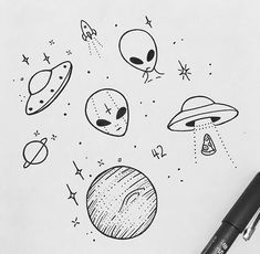 65 ideas for easy art sketches doodles 65 ideas for easy art sketches doodles 65 ideas for easy art sketches doodles Alien Drawings, Space Drawings, Doodle Drawings, Cute Drawings, Drawing Sketches, Tattoo Drawings, Pencil Drawings, Ufo Tattoo, Art Drawings Easy