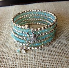 Summer Starfish Memory Wire Wrap Bracelet