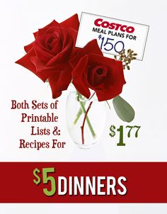 Costco Meal Plan Printables – $1.77 Valentine's Sale!