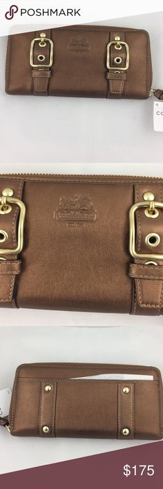 Authentic Coach Wallet w/tag! In excellent condition.  New with Tag.  Coppery bronze in color. Zipper around and with back slot and inside it has 12 slots for cards and inside zipper for coins.  Also separate slot for loose checks and receipts. Coach Bags Wallets