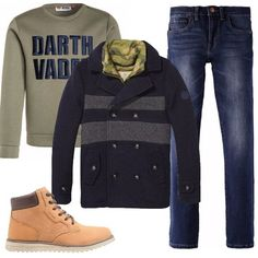 Jeans Levi's, felpa Lego Wear, splendida giacca Scotch & Soda e stivaletti con i lacci Geox in pelle e tessuto. Un look perfetto per un bambino che vuole già vestire come i grandi.