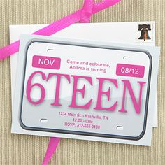 16 birthday invitation with car key | ... 16th Birthday Party Invitations - License Plate - Birthday Gifts