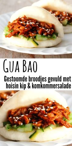 broodjes met hoisin kip Gua Bao (Chinese steamed buns) with hoisin pulled chicken and cucumber salad.Gua Bao (Chinese steamed buns) with hoisin pulled chicken and cucumber salad. Steamed Buns, Steamed Chicken, Salad Chicken, Canned Chicken, Tapas, Hoisin Chicken, Asian Recipes, Healthy Recipes, Sweet Recipes