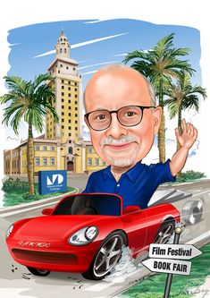 Our college president Dr. Pa*** is driving his red sports car. The background is the MDC Freedom Tower which is both iconic Miami building part of Miami Dade College. The building is located on a wide palm tree lined street. There's a brand for our college logo (MDC) on the side of the road. The signs BOOK FAIR and FILM FESTIVAL represent two major college events.