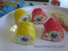 candy sushi made with rice Krispie treats and various goodies inside and Fruit Roll-ups for seaweed wraps. how to make candy sushi Rice Krispie Treats, Rice Krispies, Candy Sushi Rolls, Cute Food, Good Food, Sushi Donuts, Seaweed Wrap, Fruit Roll Ups, Incredible Edibles