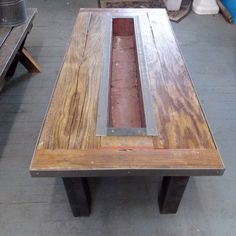 Reclaimed barn wood coffee table with custom planter box industrial furniture Cowboy Home Decor, Fetco Home Decor, Home Decor Sites, Home Theater Decor, Home Decor Catalogs, Green Home Decor, Home Decor Online, Home Decor Store, Home Decor Fabric