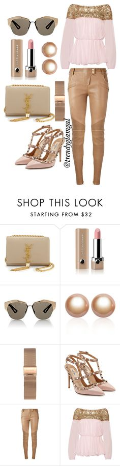 """""""Pinkish Rock Chic Outfit"""" by trendyglamgal ❤ liked on Polyvore featuring Yves Saint Laurent, Marc Jacobs, Christian Dior, Amour de Pearl, Valentino, Balmain and Marchesa"""