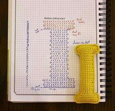 Alfabeto crochet - I Crochet Alphabet Letters, Crochet Letters Pattern, Letter Patterns, Crochet Patterns, Crochet Diy, Crochet Amigurumi, Crochet Home Decor, Amigurumi Patterns, Crochet Gratis