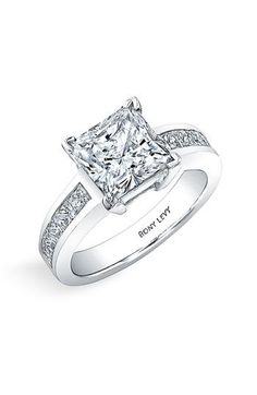 Bony Levy 'Bridal' Princess Cut Diamond Semi Mount Ring (Nordstrom Exclusive) available at #Nordstrom