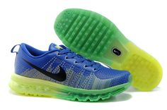 Nike Flyknit Air Max 2014 Mens Bluefluorescentgreen USA Sale Contact  topshoesale
