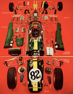 A deconstructed Lotus F1 from the 1960's
