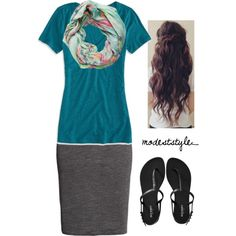 """Teal and grey"" by modeststyle-studio on Polyvore"