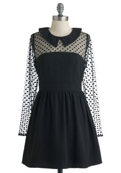 Dot a Hold on Me Dress. From the first moment you spotted this adorable black dress by Darling, its girlish glam and refined details captured your heart. #black #modcloth