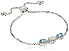Best Bracelets For Women | Sterling Silver Three Stone Oval Swiss Blue Topaz and Created Opal with White Topaz Accent Bolo Link Charm Bracelet *** You can get more details by clicking on the image. Note:It is Affiliate Link to Amazon.